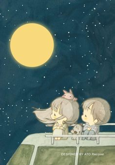 Chibi Couple, Couple Cartoon, Couple Illustration, Illustration Art, Cute Love Stories, Character Design Animation, Cute Images, Stars And Moon, Watercolors