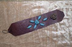 Wide Leather Turquoise Cuff Bracelet large handmade hand sewn egl ooak rococo southwest hippie boho sundance style jewelry rustic jewelry by LandofBridget