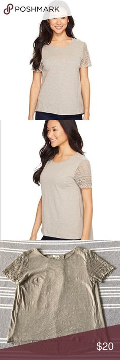 Dylan by true grit Slub Knit Tee w/ Sierra Lace Dylan by true grit Slub Knit Tee w/ Sierra Lace Sleeves in Gray Size Small Excellent condition! See pictures for measurements.  The perfect tee for layering or wearing alone. Soft slub knit tee boasts flattering lace at the short sleeves. Round neckline. Inverted back pleat. Slightly curved hemline. 100% cotton. Machine wash cold and tumble dry low. True Grit Tops Tees - Short Sleeve