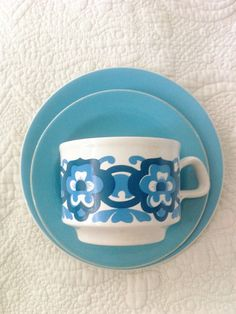 SALE Staffordshire Pottery Midcentury Blue Floral Cup Saucer Side Plate Trio £4 plus postage