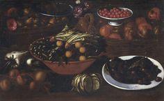 ARBOTONI BARTOLOMEO b. 1594 d. 1676 (attribuito a) Natura morta con frutta e verdura Olio su tela, cm 66x106