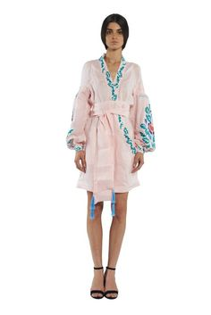 Pale Pink Wrap Dress Japanese Inspired Linen Romper Edentree linen jumpsuit YULIYA MAGDYCH Collection