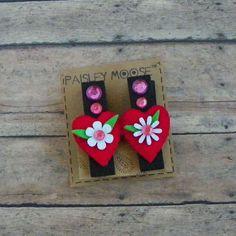 Felt Hearts and Flower Chunky Chalkboard Wooden Clip Refrigerator Magnets Set of 2 by PaisleyMoose on Etsy