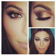 Make brown eyes pop. (she looks like kim kardashion)
