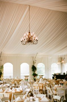 Permanent Reception Tent With Chandelier at Riverwood Mansion Photo by: Michelle Cross