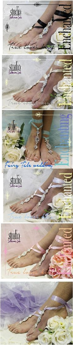 """wedding, foot jewelry, beach wedding, bridal """"PIN this pretty for later!' Enchanted fairy tale beach wedding rhinestone and ribbon barefoot sandals! Ribbon can be customized! $21.50 See more at Catherine Cole Studio! #beachwedding #wedding #barefootsandals"""