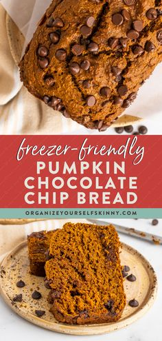 Get ready to make this Healthy Pumpkin Bread recipe all year long – it's that good! Made with white whole wheat flour, coconut sugar, coconut oil, and a handful of chocolate chips. It's wholesome, moist, and delicious! Make a loaf to enjoy with a cup of coffee all week, or freeze ahead for healthy snacks during the month. Organize Yourself Skinny | Healthy Breakfast Recipes | Healthy Fall Recipes | Healthy Freezer Meals Healthy Desserts For Kids, Healthy Sweet Treats, Easy No Bake Desserts, Healthy Dessert Recipes, Healthy Baking, Healthy Snacks, Breakfast Recipes, Snack Recipes, Healthy Pumpkin Bread