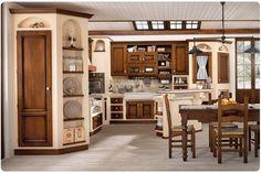 Cucina in muratura in massello di frassino, con particolare angolo ...