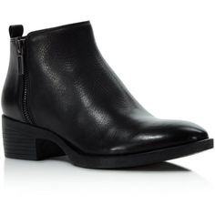 Kenneth Cole Levon Low Heel Booties (475 BRL) ❤ liked on Polyvore featuring shoes, boots, ankle booties, black, black leather boots, low heel booties, kenneth cole booties, low black boots and black low heel boots