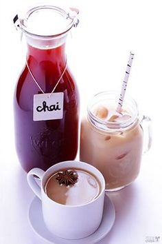 Homemade Chai (Iced, Hot or Concentrate): 12 cardamom pods, gently crushed 8 whole black peppercorns 8 whole cloves 4-inch piece of fresh ginger, sliced 4 cups water 4 cinnamon sticks 3 whole allspice (optional) 2 Tbsp. brown sugar (more or less to taste) 2 star anise 1 vanilla bean, sliced down the middle 1/8 tsp. nutmeg 4 black tea bags