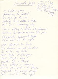 "Tony Harnell of TNT handwritten signed lyrics for ""Desperate Night"".  Rock 'n' Roll Auction, Lot 217 / December 18th, 2013  https://www.profilesinhistory.com/auctions/rock-roll-auction-59-2/"