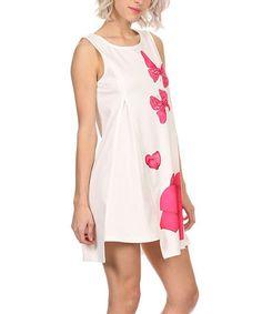 Look at this #zulilyfind! White Butterfly Sleeveless Shift Dress #zulilyfinds