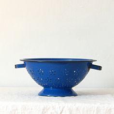Alte / antike französische blau Emailwaren Sieb von jillbent