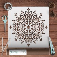This easy-to-use reusable mandala floral stencil looks marvelous with any style of decor, whether classic, modern, or bohemian. With its geometric shape yet organic, ornate design, this pattern adds w