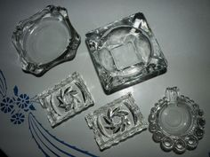 Beautiful Lot of 5 Vintage Ashtray Clear Cut Pressed Boopie Glass Crystal