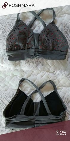 Anthropologie sports bra Gray and pink sports bra. Inserts included. Worn once, in excellent condition. Anthropologie Intimates & Sleepwear Bras