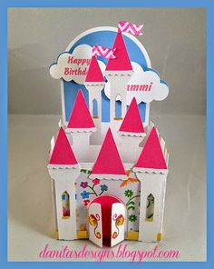 Castle Card in a box # birthday - min side Card In A Box, Pop Up Box Cards, 3d Cards, Cool Cards, 100th Birthday Card, Birthday Cards For Her, Birthday Box, Exploding Box Card, Scrapbooking