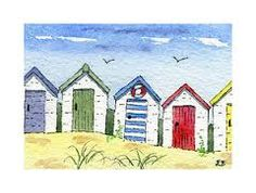 beach hut painting - Google Search