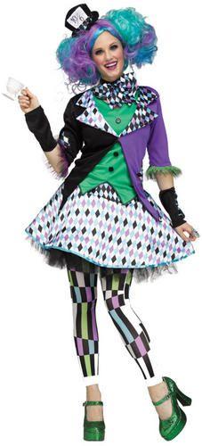 Crazy Hatter Ladies Fancy Dress Wonderland Fairy Tale Halloween Adults Costume