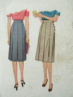 Vintage McCall 5750 Sewing Pattern, 1940s Skirt Pattern, Pleated Skirt Pattern, 1940s Sewing Pattern, Waist 24, Vintage Skirt Pattern by sewbettyanddot on Etsy