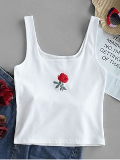 Spring and Summer Thin Embroidery Floral U Short Cute Rose Embroidery Ribbed Tank Top Funny Tank Tops, Cute Tank Tops, Cute Shirts, Black Tank Tops, Teen Crop Tops, Top Funny, Teen Fashion Outfits, Girl Outfits, Cute Outfits
