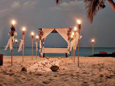 Sunset on the beach wedding