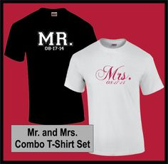 MR AND MRS Wedding / Honeymoon (1 Color Print) Customized / Personalized Combo Unisex T-Shirts - Free Shipping on Etsy, $30.00