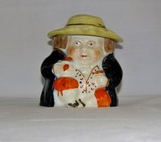 Antique Staffordshire Figural Toby Character Tobacco Jar Humidor Ceramic