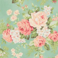 Bavlněná látka Růže velké mentol aqua Rose for You, metráž 100% bavlna