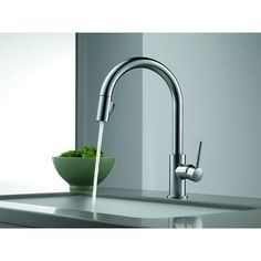 Delta Trinsic Single-Handle Pull-Down Sprayer Kitchen Faucet in Arctic Stainless Featuring MagnaTite Docking-9159-AR-DST at The Home Depot