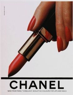Chanel lipstick and nail polish ad (1985). Love the simplicity of this ad.