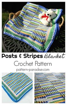 Crochet Pattern: Posts and Stripes Baby Blanket by Pattern-Paradise.com