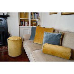 McAlister Textiles | Velvet Yellow + Grey Bolster Pillow Bolster Pillow, Cushions On Sofa, Bed Pillows, Scatter Cushions, Floor Cushions, Beds Uk, Large Beds, Selling Design, Velvet Curtains