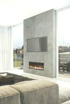 Similar with cabinetry spanning width of windows and fireplace - - Top Trends Living Room Decor Fireplace, Fireplace Tv Wall, Concrete Fireplace, Fireplace Remodel, Modern Fireplace, Fireplace Between Windows, Contemporary Fireplace Designs, Modern Bedroom Decor, Modern Decor