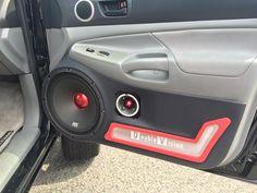 RoadThunder Extreme in a custom built door panel. Custom Car Interior, Truck Interior, Custom Car Audio, Custom Cars, Car Audio Installation, Automotive Upholstery, Car Audio Systems, Car Sounds, Door Panels