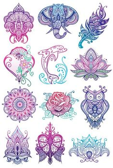 Mandala Glitter Temporary Tattoo Set