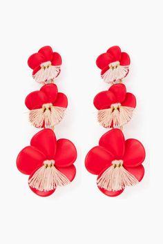 Flame Triple Floral Drop Earrings