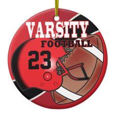 #Varsity #Red and Black #Football #ornament #christmas #zazzlebesties #zazzle #gifts