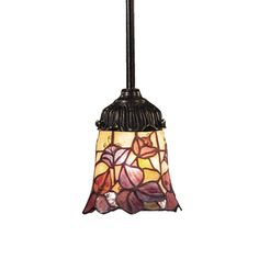 Mix-N-Match 1 Light Pendant In Tiffany Bronze And Multicolor Glass 078-TB-17