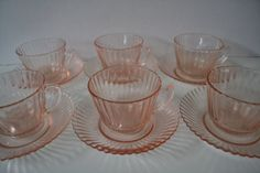 SOLD***$60***Pink Anchor Hocking Queen Mary Glass Cup and Saucer - set of 6***For more unique items please visit: http://www.etsy.com/shop/TsEclecticCorner