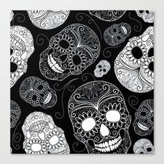 Sugar Skulls Canvas Print by Zen and Chic - $85.00
