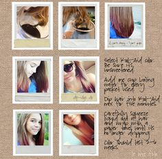 dip dyeing hair with Kool Aid! I will be doing this this summer :)