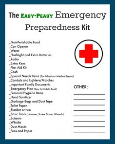 Emergency/Evacuation Preparedness Kit Free Printable Checklist! - The Creek Line House