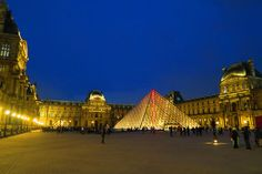 The Musée du Louvre by night