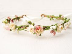 Wedding hair accessories Peach flower crown by NoonOnTheMoon