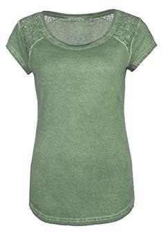 Fresh Made Damen T-Shirt mit Spitze Vintage-Look Rundhals middle-green M