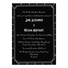 Vintage Gatsby Style Art Deco Wedding Invitations in Black and Silver Grey