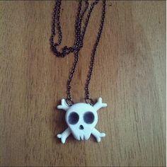 Skull and Cross bone Pendant Halloween polymer by FlowerChildCharms >>HALLOWEEN SPECIAL OFFER<<