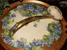 Limoges Rare Violet Decorated Punch Bowl/Plinth with Matching Ladle from allthingslovelee on Ruby Lane
