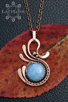 Wire wrapped copper pendant with natural blue quartz stone  ...S U B S C R I B E... Get latest discounts and news straight to your inbox! - http://lacylove.com.ua/subscribe